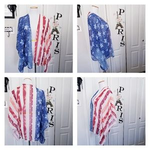 Patriotic Stars and Stripes Sheer Tunic